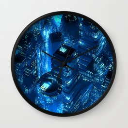 Blue neon city skyscrapers modern technology concept Wall Clock