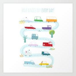 Cute Cars Print Art Print