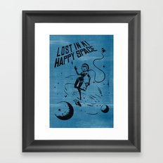 Lost In My Happy Space, blue Framed Art Print