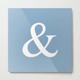 Ampersand sign on placid blue color background Metal Print