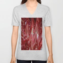 Cherry Bomb Waves, Rippled Red and White Liquid - Digital Fluid Art Unisex V-Neck