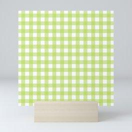 Green gingham pattern Mini Art Print