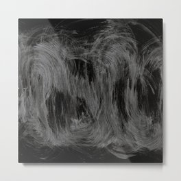Waves, Abstract, Black & White Metal Print