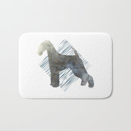 Modern Airedale Terrier Dog Watercolor Stripes Bath Mat