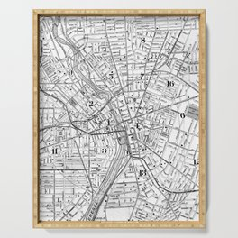 Vintage Map of Rochester NY (1901) BW Serving Tray
