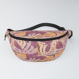 Color Block Monstera Purple Fanny Pack
