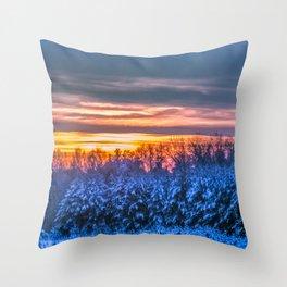 Magic winter sunset Throw Pillow