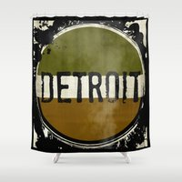 detroit Shower Curtains featuring detroit by Marshflowers