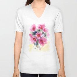 Pink Peony Bouquet Unisex V-Neck