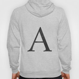 Letter A Initial Monogram Black and White Hoody