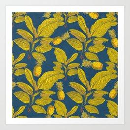 Exotic Pineapple Tropical Banana Palm Leaf Print Art Print