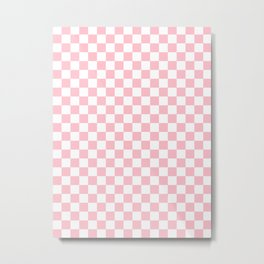 Small Checkered - White and Pink Metal Print