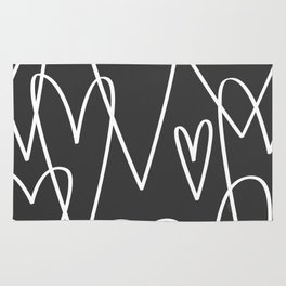 Doodle Hearts in Black by Friztin Rug