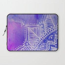 Mandala flower on watercolor background - purple and blue Laptop Sleeve