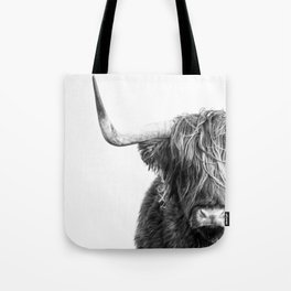 Highland Cow Portrait - Black and White Tote Bag