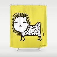 korean Shower Curtains featuring cute korean alphabet animals by lemonluna