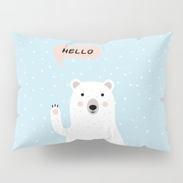 Cute Polar Bear in the Snow says Hello Pillow Sham