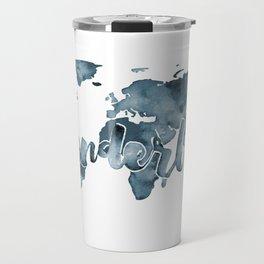 Black-and-white Watercolor Wanderlust Travel World Map Travel Mug