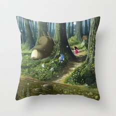 Totoro and Mei Throw Pillow
