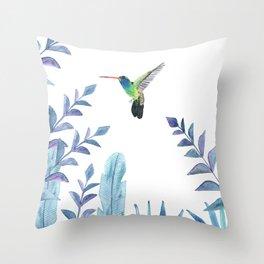Hummingbird with tropical foliage Throw Pillow