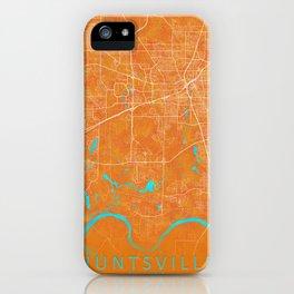 Huntsville, AL, USA, Gold, Blue, City, Map iPhone Case