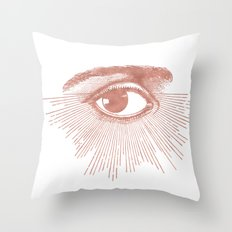I see you. Rose Gold Pink Quartz on White Throw Pillow