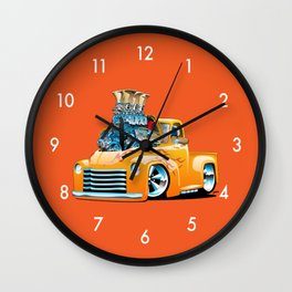 American Classic Hotrod Pickup Truck Cartoon Wall Clock