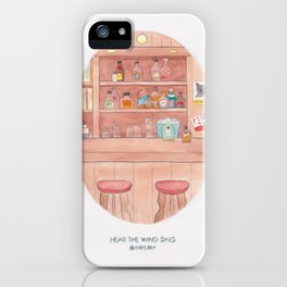 Haruki Murakami's Hear the Wind Sing // Illustration of a Japanese Bar in Watercolour and Pencil iPhone Case