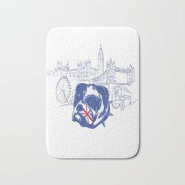 British City Skyline Bulldog Bath Mat