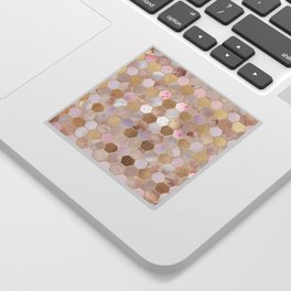 Hexagonal Honeycomb Marble Rose Gold Sticker