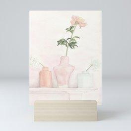 Peony in a Glass Vase Mini Art Print