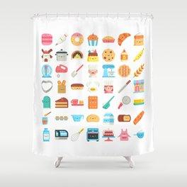 CUTE BAKERY PATTERN (CUTE CHEF BAKER) Shower Curtain