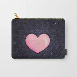 Pink heart on shiny black Carry-All Pouch