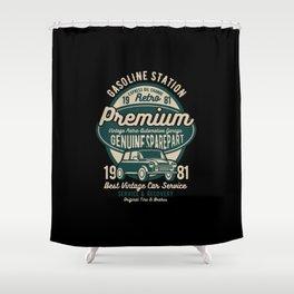 gasoline station premium Shower Curtain