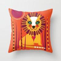 leo Throw Pillows featuring Leo by Shirley Copperwhite