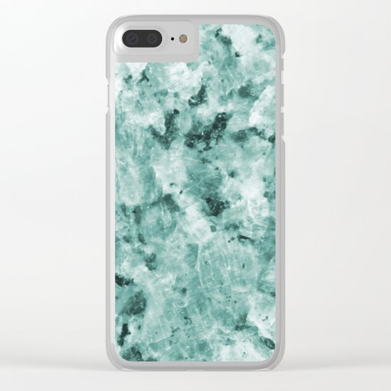 Mint Green Crystal Marble Clear iPhone Case