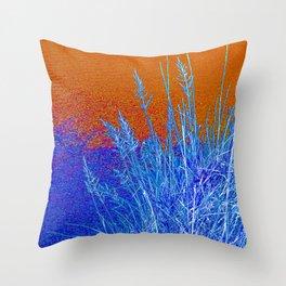 Blue Grass Red Throw Pillow