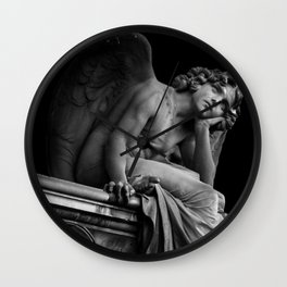 Giulio Monteverde and the Angel of the Night in Campo Verano black and white photograph / art photography Wall Clock