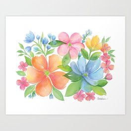 Bright Floral Watercolor Art Print