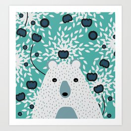 White bear in mint floral rain Art Print