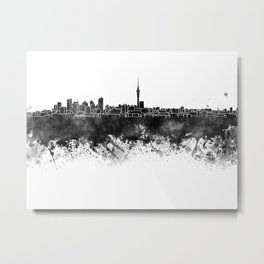 Auckland skyline in black watercolor Metal Print