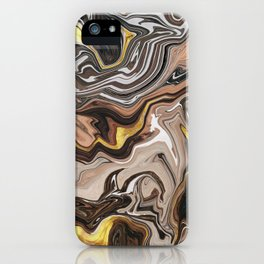 Brown Melted Marble With Gold I iPhone Case