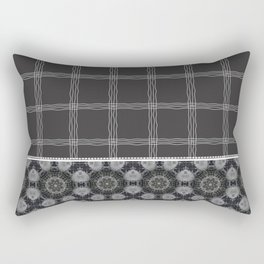 Wavy Plaid Pattern Bla and Grey Mandala Tile Rectangular Pillow