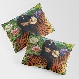 Henri Rousseau Dreaming of Tigers tropical big cat jungle scene by Henri Rousseau Pillow Sham