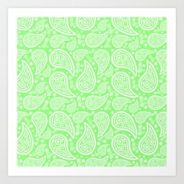 Paisley (White & Light Green Pattern) Art Print