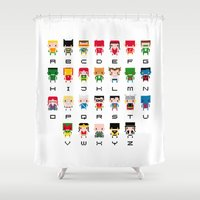 aquaman Shower Curtains featuring Superhero Alphabet by PixelPower