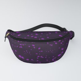 Blueberry iridescent drops and petals on a black background in nacre. Fanny Pack