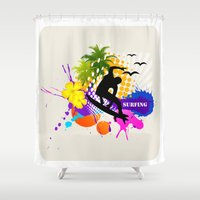 surfing Shower Curtains featuring surfing  by mark ashkenazi