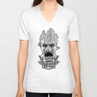 gym V-neck T-shirts featuring GROOT GYM by ADAMLAWLESS
