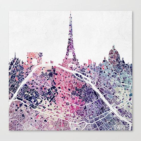 Paris Skyline + Map #1 Canvas Print